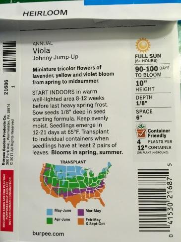 viola seed packet