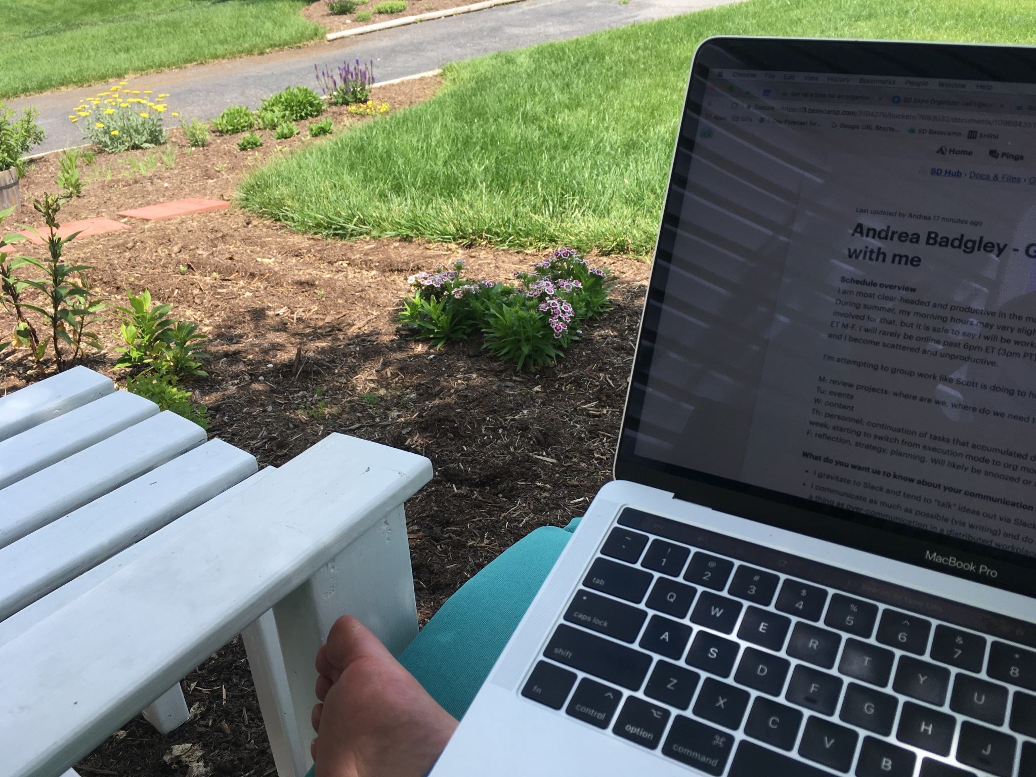 working from the shade of the dogwood